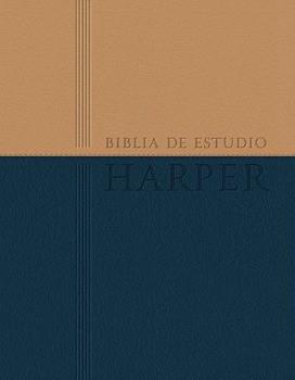 Biblia de Estudio Harper - Dos Tonos (Piel Italiana Azul-Beige)