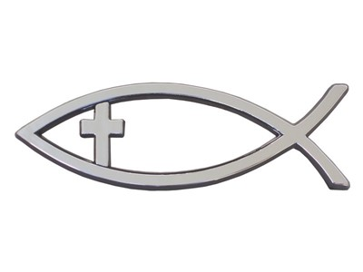 Auto Emblema Pescadito con la cruz (Plateado) [Misceláneos]