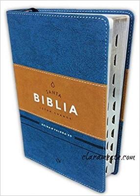 RVR 1960 Biblia Letra Grande con Índice y Concordancia (Piel italiana duotono azul y café)