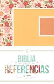 Biblia RVR con Referencias (Imitación Piel floral, durazno/damasco )