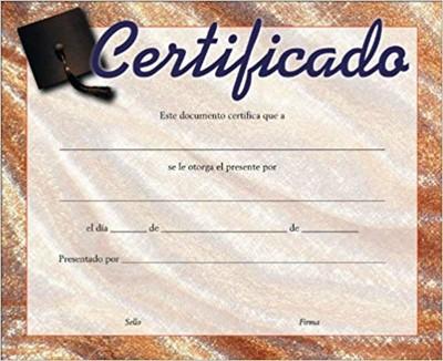 Certificado para toda Ocasión (Rústica)