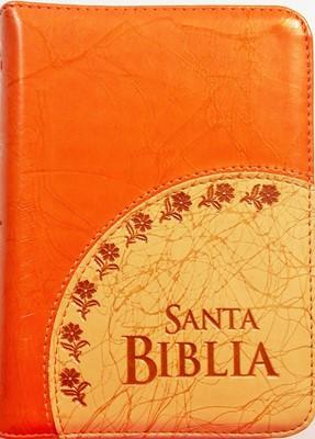 Biblia Reina Valera Tamaño Manual con Ziper (Imitación Piel Cosida Naranja - Beige) [Biblia]