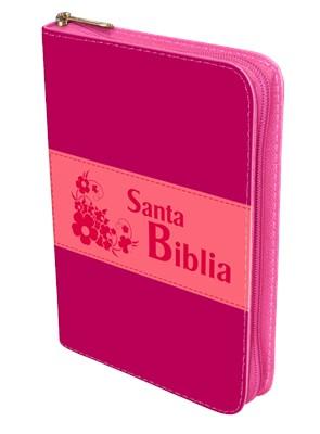 Biblia 1960 Troquelada Rosa Zipper (Imitación Piel Rosa/Fucsia)