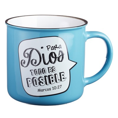 Taza Azul Para Dios todo es Posible