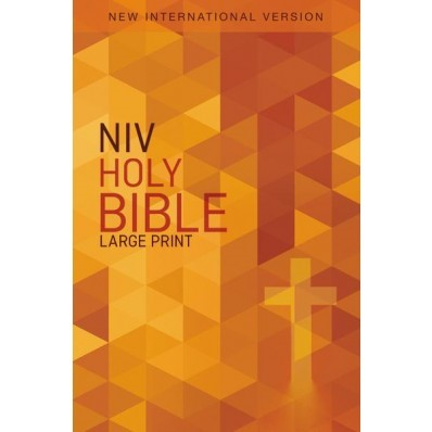 NIV Large Print Outreach Bible (Softcover, orange cross)