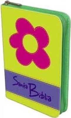 Biblia manual troquelada verde flor (Imitación Piel Troquelada Verde Flor)