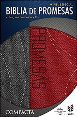 Biblia de promesas compacta (Tapa piel especial dos tonos gris/rojo)