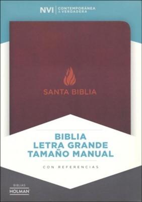 NVI Biblia Letra Grande Tamaño Manual  con indice (Piel fabricada, marrón)
