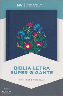 NVI Biblia Letra Súper Grande (Azul bordado sobre tela)