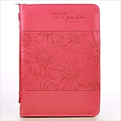 Forro De Biblia Rosado (Símil Cuero)