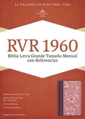 RVR 1960 Biblia Letra Grande Tamaño Manual con Referencias (Piel especial Dos tonos Borravino/Rosado)