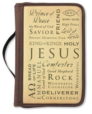 Forro de Biblia Name of Jesus Cover (Funda de Lona, Color Chocolate)
