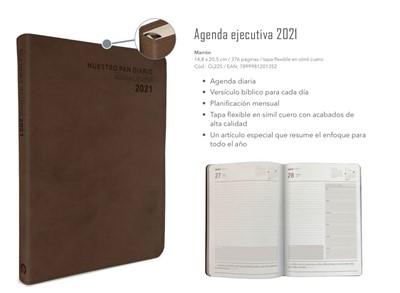 Agenda Ejecutiva Marrón 2021 Nuestro Pan Diario (Imitación Piel)