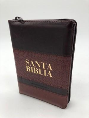 RVR 1960 Biblia Tamaño Manual Letra Grande (Piel dos tonos Marrón-Cafe Índice y Zípper)