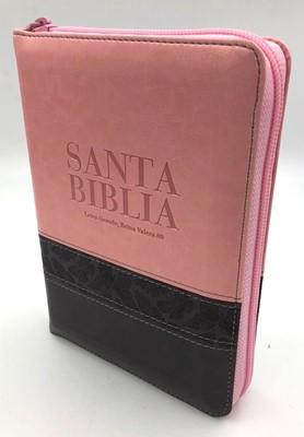 RVR60 Biblia Tamaño Manual Letra Grande con Índice y Zipper (Piel dos tonos)