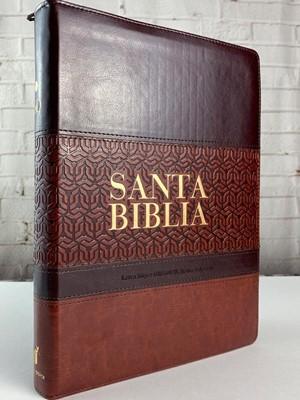 RVR 1960 Biblia Letra Súper Gigante (Piel dos tonos Marrón-Cafe con Índice y Zipper)