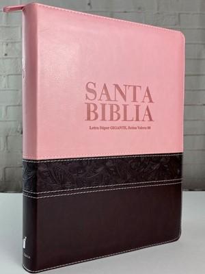 RVR60 Biblia Letra Súper Gigante Con Índice (Piel dos tonos Rosa-Marrón Zipper)