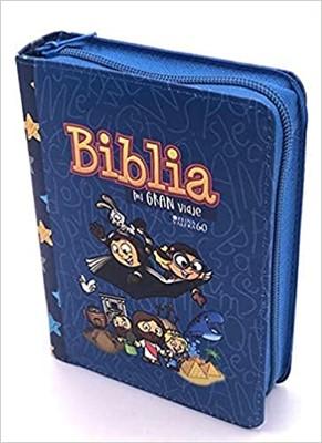 RVR1960 Biblia Mi Gran Viaje Niño (Imitación Piel Azul Con Zíper)