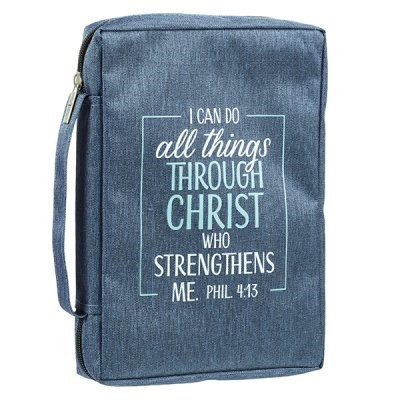 Forro De Biblia I Can Do All Things (Poli-lienzo Blanco Azul)