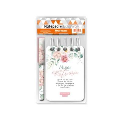Notepad-Bolígrafo Mujer Virtuosa (Espiral Flores)