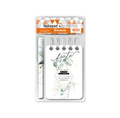 Notepad-Bolígrafo Fíate (Espiral Flores)