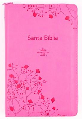RVR 1960 Biblia de Letra Grande Tamaño Manual (Imitación Piel Rosa / Con Zíper / Índice)