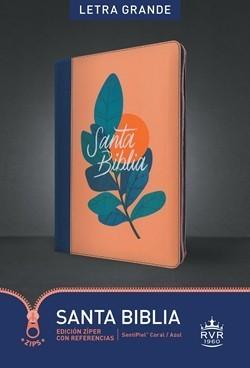 RVR 1960 Biblia Edición Zíper Letra Grande (Sentipiel Piel - Coral/Azul)
