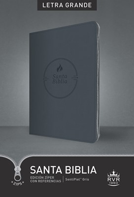 RVR 1960 Biblia Edición Zíper Letra Grande (Sentipiel - Gris)