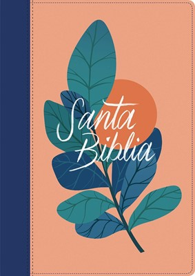 RVR 1960 Biblia Edición Zíper Letra Grande (Sentipiel - Coral/Azul)