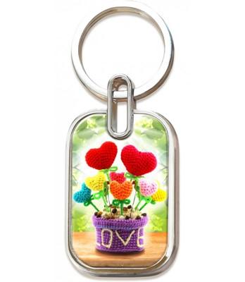 Llavero Metálico En 3D Flores Corazones - Prats (Metálico)