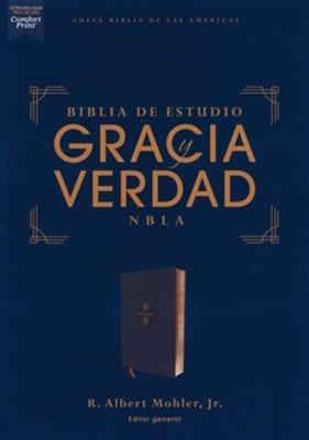 NBLA Biblia De Estudio Gracia y Verdad (Imitación Piel Azul Marino)