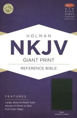 NKJV Giant Print Reference Bible (Black Imitation Leather)
