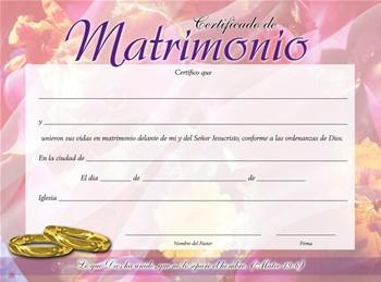 Certificados Shekinah de Matrimonios (Rústica)