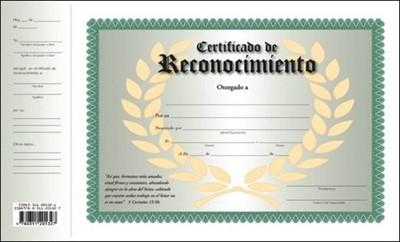 Certificado De Reconocimiento (Rústica)