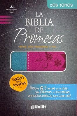 Biblia de Promesas (Piel Duo Tono Rosa/Turquesa)