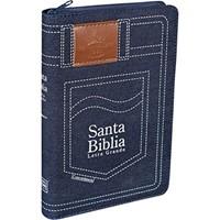 Santa Biblia Letra Grande Jean con Cierre (jean)