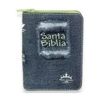 Biblia RVR Jean con ziper verde