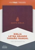 RVR 1960 Letra Grande Tamaño Manual (Piel fabricada, marrón)