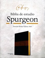 B - Biblia de Estudio Spurgeon Negro Marron Simil Piel