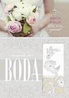 RVR 1960 Biblia Recuerdo de Boda Blanco Lino Encaje